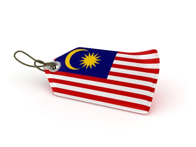 Rendering illustration of shopping price tag malaysian flag