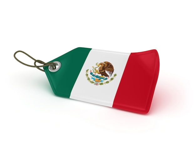 Rendering illustration of shopping price tag mexican flag