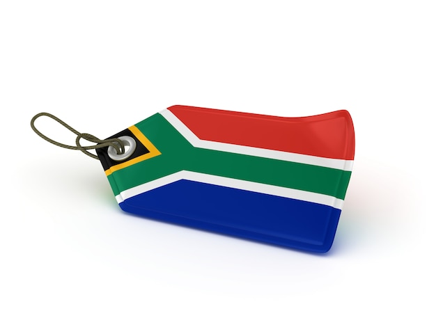 Rendering illustration of shopping price tag south african flag