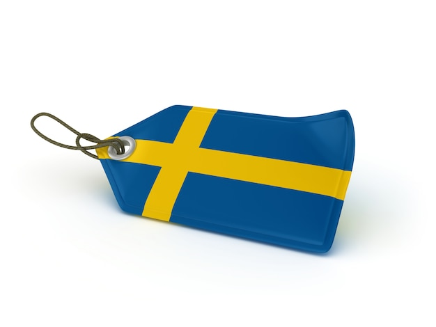 Rendering illustration of shopping price tag swedish flag