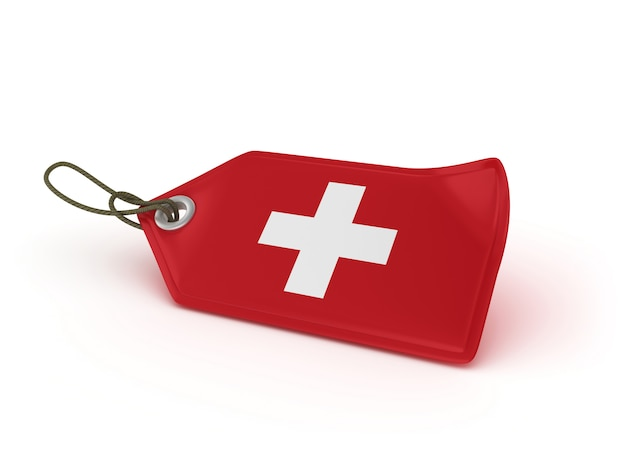 Rendering illustration of shopping price tag swiss flag