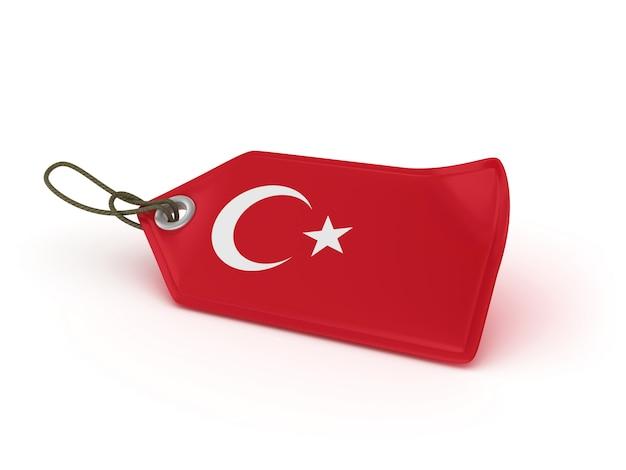 Rendering illustration of shopping price tag turkish flag