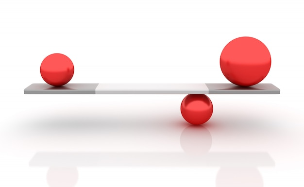 Rendering illustration of spheres balancing on a seesaw