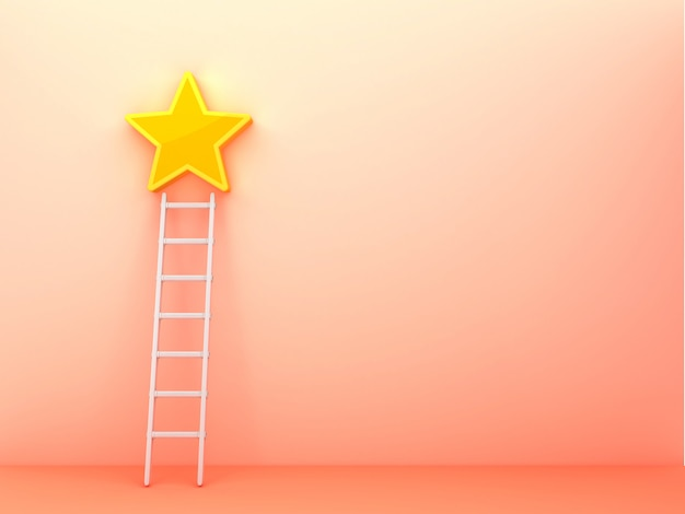 Rendering illustration of stair and star on pink wall
