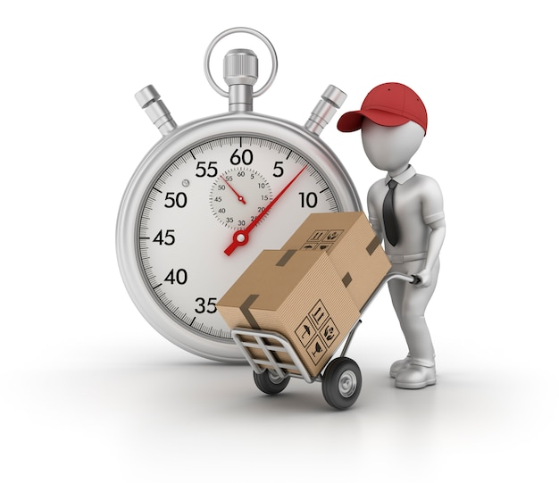 Rendering illustration of stopwatch with cartoon delivery character