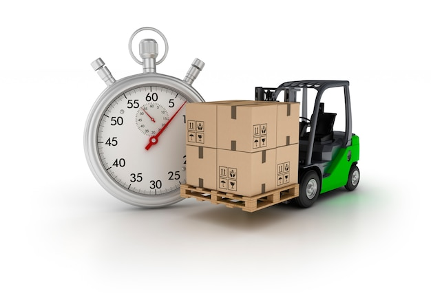Rendering illustration of stopwatch with forklift