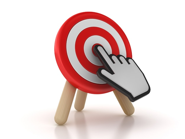 Rendering illustration of target with hand cursor
