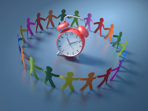 Rendering illustration of teamwork people with clock