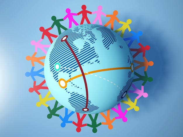 Rendering illustration of teamwork pictogram people around globe world