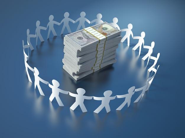 Rendering illustration of teamwork pictogram people dollar bill packages
