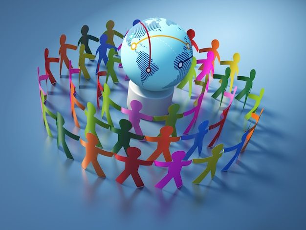 Rendering illustration of teamwork pictogram people with globe world
