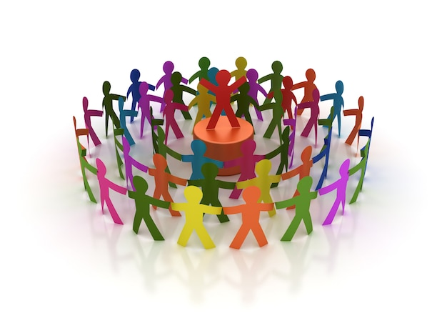 Rendering illustration of teamwork pictogram people with leader