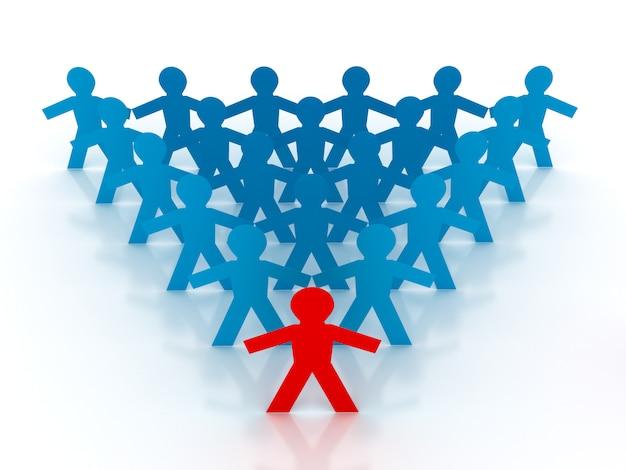 Rendering illustration of teamwork pictogram people with leadership