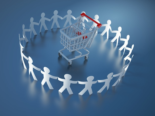 Rendering illustration of teamwork pictogram people with shopping cart