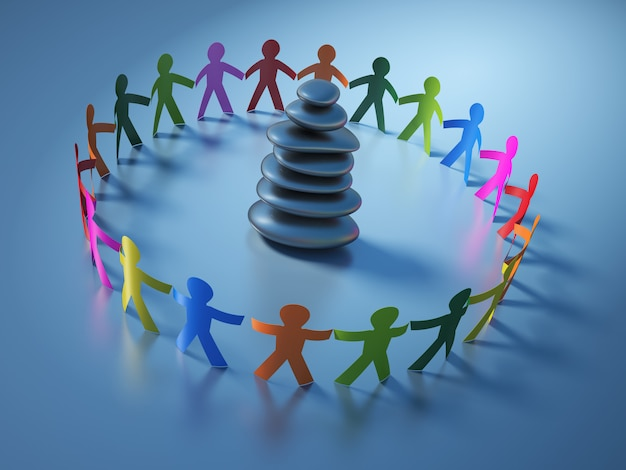 Rendering illustration of teamwork pictogram people with stones balance