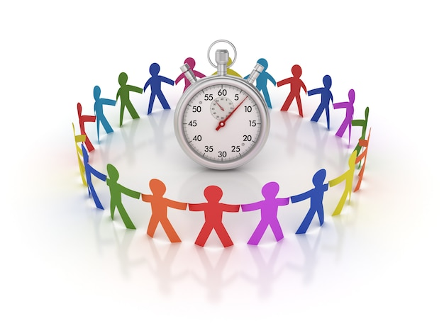 Rendering illustration of teamwork pictogram people with stopwatch