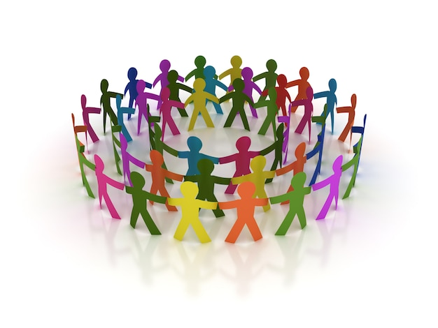 Rendering illustration of teamwork pictogram people