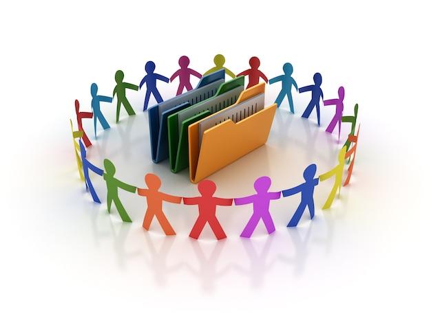 Rendering illustration of teamwork  with folders
