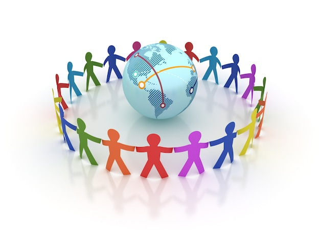 Rendering illustration of teamwork with globe world