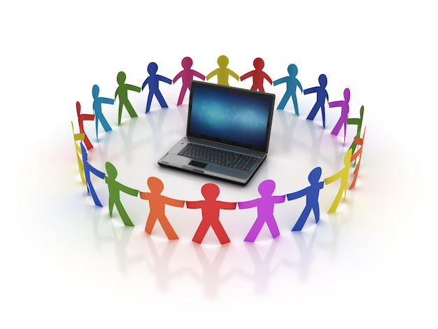Rendering illustration of teamwork with laptop