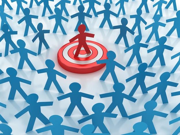 Rendering illustration of teamwork  with leadership