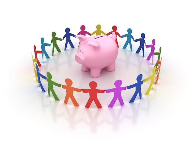 Rendering illustration of teamwork with piggy bank
