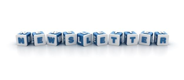 Rendering illustration of tile blocks with newsletter word