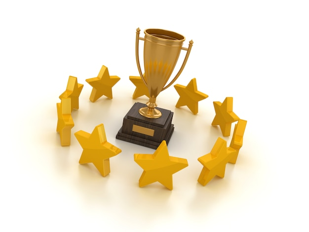 Rendering illustration of trophy and stars