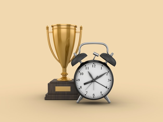 Rendering illustration of trophy with clock