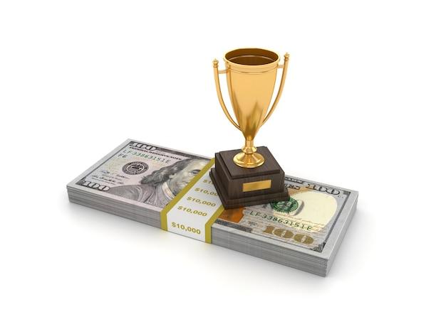 Rendering illustration of trophy with dollar bills