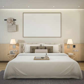 Rendering luxury modern bedroom suite in hotel