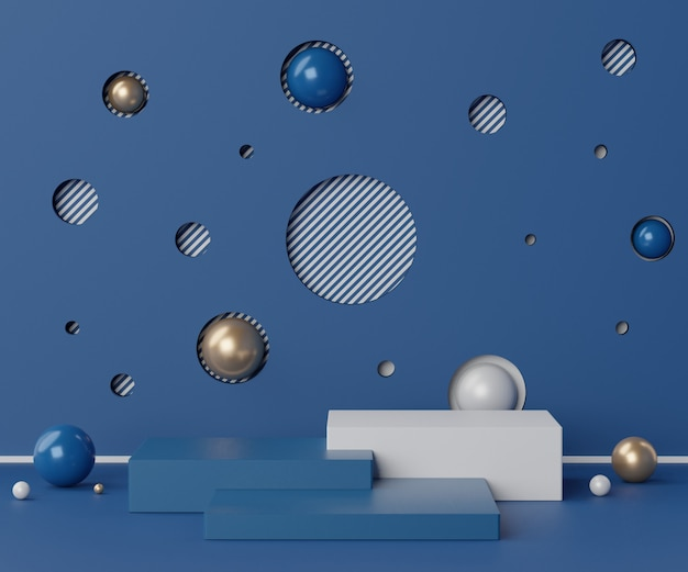 Rendering minimal empty classic blue color podium scene for products presentation