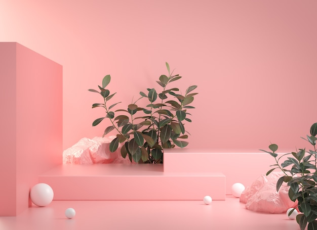 Rendering  minimal empty pink podium step with rock and tropic plant abstract scene