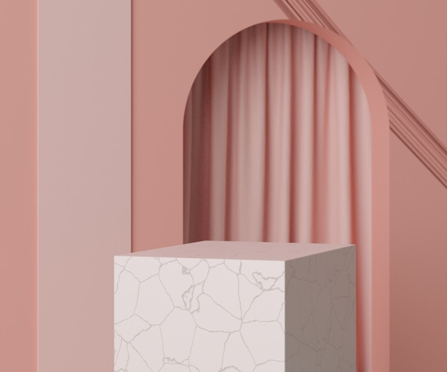 Rendering minimal empty podium scene with geometric shapes for products presentation