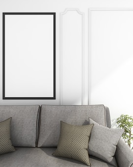 Rendering mock up living sofa near wall
