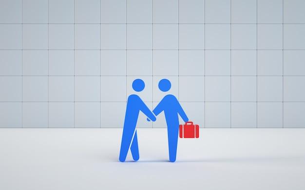 ビジネスをしながら握手するイラストのレンダリングモデル
