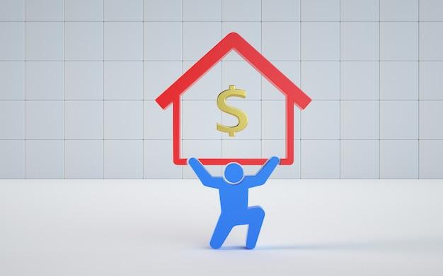 イラストのレンダリングモデルは家のためにお金を稼ぎます
