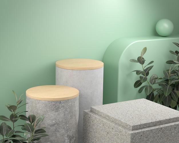 Визуализация современной бетонной каменной платформы с деревянной вершиной и тропическим растением на зеленой мятой