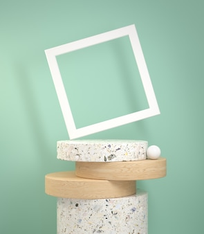 Rendering  modern step cylinder display marble and wood oak with white frame on green mint