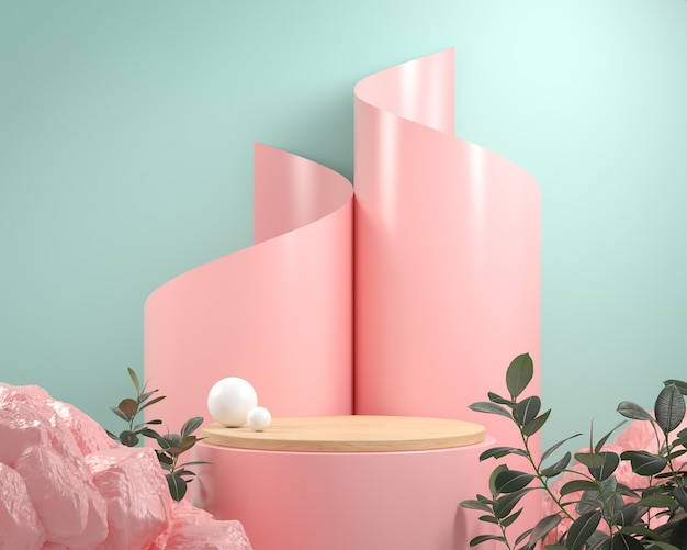 Rendering modern wood pedestal stage with pink rock and paper spiral