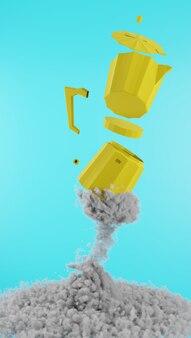 空飛ぶコーヒーポット喫煙のレンダリング Premium写真