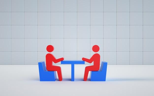직장에서 회의의 모델 그림 렌더링