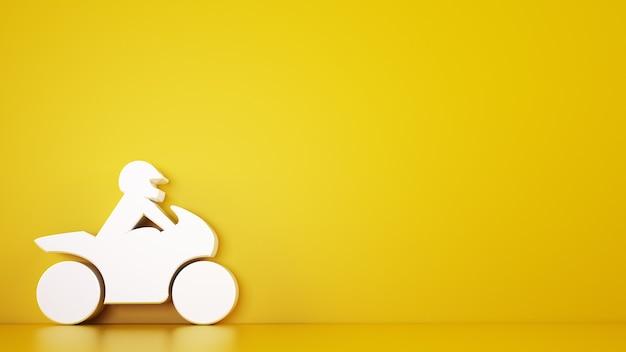 흰색 장난감 오토바이와 노란색 배경의 렌더링
