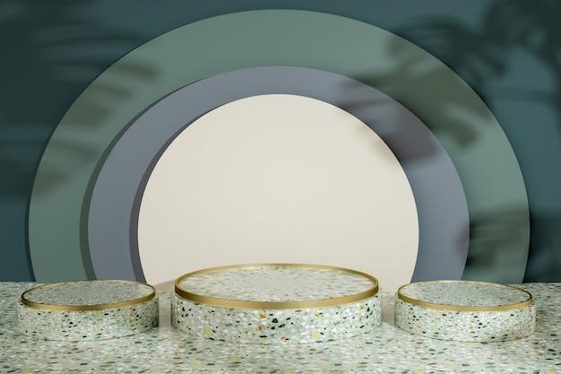 製品スタンドの抽象的な円形の表彰台のレンダリング