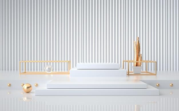 스탠드 제품에 대한 박탈 벽과 함께 추상 기하학적 플랫폼의 렌더링