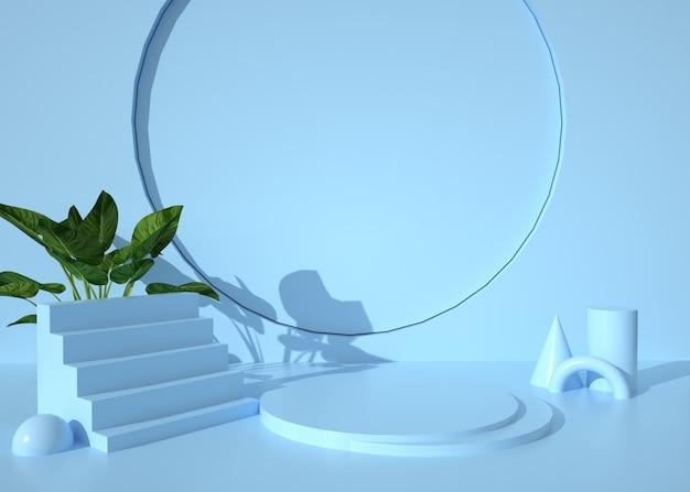 스탠드 제품에 대한 추상적 인 기하학적 모양 배경의 렌더링