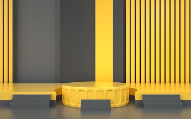 제품 스탠드 받침대가있는 추상적 인 기하학적 무대 배경 렌더링