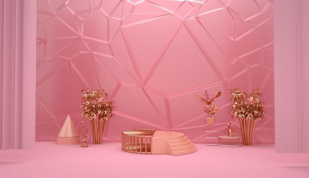 스탠드 제품에 대한 황금 받침대와 추상 분홍색 기하학적 모양의 렌더링
