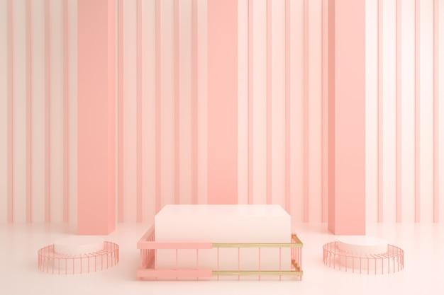 스탠드 디스플레이에 대 한 추상 분홍색 연단의 렌더링