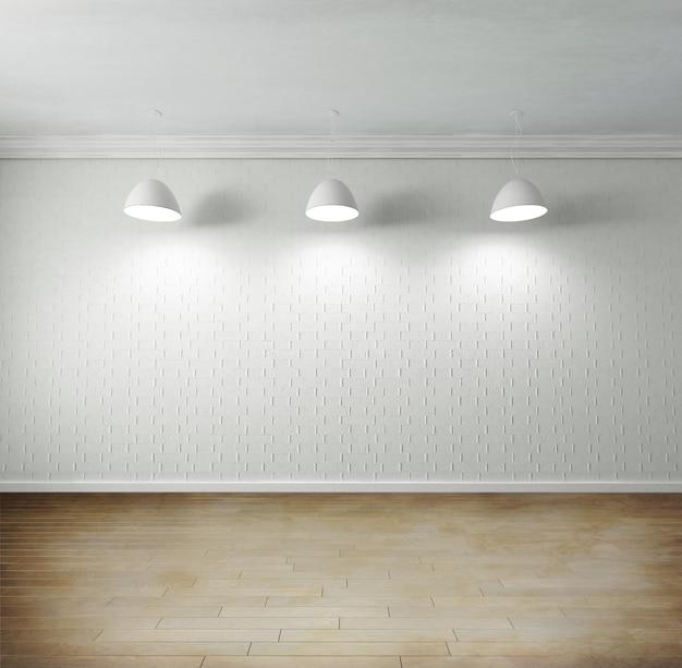 고품질 쪽모이 세공 마루 바닥, 빈 벽돌 벽, 천장에 매달려있는 조명이있는 빈 방의 렌더링
